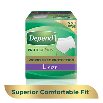 Depend protection plus absorbent pants for incontinence and bladder leakage, with a 'buy now' button and 'learn more' link