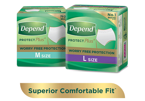 Depend protection plus absorbent pants for leakage protection with 'free sample'' and 'buy now' buttons