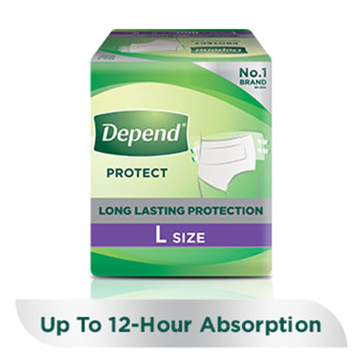 Depend protect absorbent tape pants for incontinence and bladder leakage with a 'buy now' button and a 'learn more' link