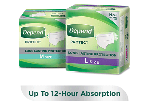 Depend protect absorbent tape pants for heavy loss of bladder control